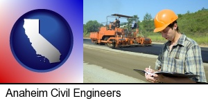 a civil engineer inspecting a road building project in Anaheim, CA