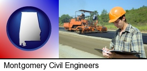 a civil engineer inspecting a road building project in Montgomery, AL