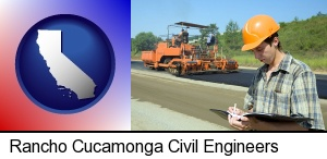 a civil engineer inspecting a road building project in Rancho Cucamonga, CA