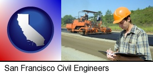 a civil engineer inspecting a road building project in San Francisco, CA