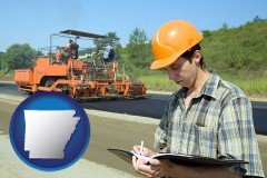 arkansas map icon and a civil engineer inspecting a road building project