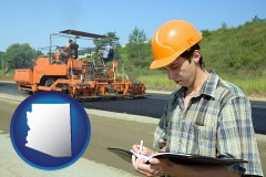 arizona map icon and a civil engineer inspecting a road building project