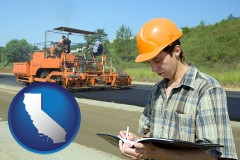 california map icon and a civil engineer inspecting a road building project