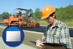 colorado map icon and a civil engineer inspecting a road building project