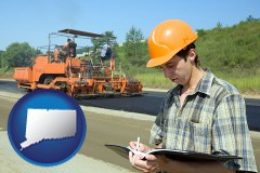 connecticut map icon and a civil engineer inspecting a road building project