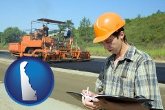 delaware map icon and a civil engineer inspecting a road building project