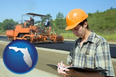 florida map icon and a civil engineer inspecting a road building project