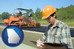georgia map icon and a civil engineer inspecting a road building project