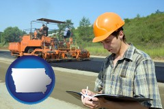 iowa map icon and a civil engineer inspecting a road building project