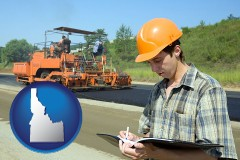 idaho map icon and a civil engineer inspecting a road building project
