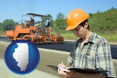 illinois map icon and a civil engineer inspecting a road building project
