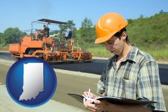 indiana map icon and a civil engineer inspecting a road building project