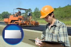 kansas map icon and a civil engineer inspecting a road building project