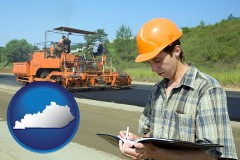 kentucky map icon and a civil engineer inspecting a road building project