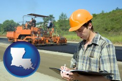 louisiana a civil engineer inspecting a road building project
