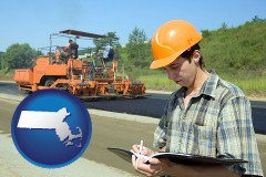 massachusetts map icon and a civil engineer inspecting a road building project
