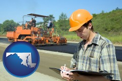 maryland map icon and a civil engineer inspecting a road building project