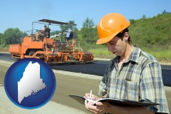 maine map icon and a civil engineer inspecting a road building project