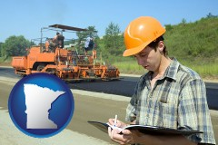 minnesota map icon and a civil engineer inspecting a road building project