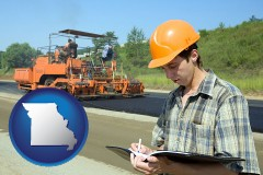 missouri map icon and a civil engineer inspecting a road building project