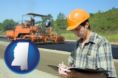 mississippi map icon and a civil engineer inspecting a road building project
