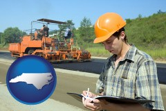 north-carolina map icon and a civil engineer inspecting a road building project