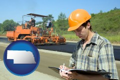nebraska map icon and a civil engineer inspecting a road building project