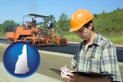 new-hampshire map icon and a civil engineer inspecting a road building project