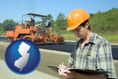 new-jersey map icon and a civil engineer inspecting a road building project