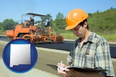 new-mexico map icon and a civil engineer inspecting a road building project