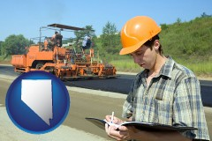 nevada map icon and a civil engineer inspecting a road building project