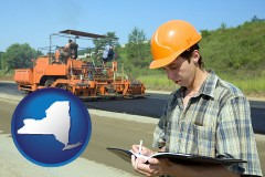 new-york map icon and a civil engineer inspecting a road building project
