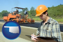 Oklahoma - a civil engineer inspecting a road building project