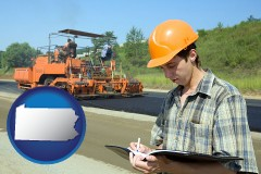 pennsylvania map icon and a civil engineer inspecting a road building project