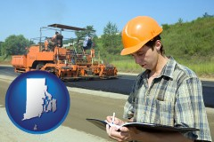 rhode-island map icon and a civil engineer inspecting a road building project
