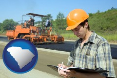 south-carolina map icon and a civil engineer inspecting a road building project