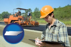 tennessee map icon and a civil engineer inspecting a road building project