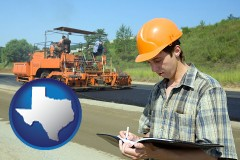 texas map icon and a civil engineer inspecting a road building project
