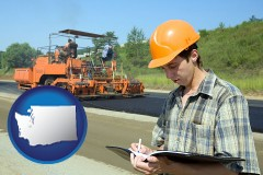 washington map icon and a civil engineer inspecting a road building project
