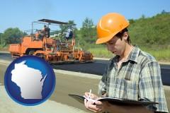 wisconsin map icon and a civil engineer inspecting a road building project