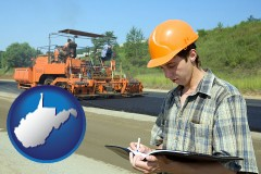 west-virginia map icon and a civil engineer inspecting a road building project