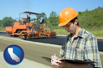 a civil engineer inspecting a road building project - with California icon