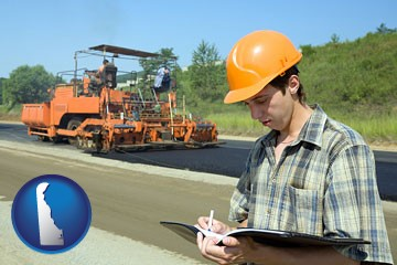 a civil engineer inspecting a road building project - with Delaware icon