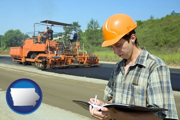 a civil engineer inspecting a road building project - with Iowa icon