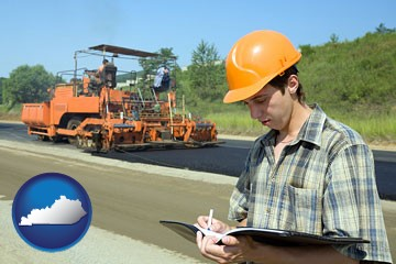 a civil engineer inspecting a road building project - with Kentucky icon