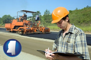 a civil engineer inspecting a road building project - with Mississippi icon