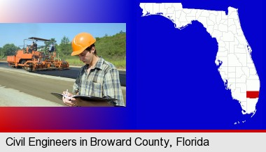 a civil engineer inspecting a road building project; Broward County highlighted in red on a map