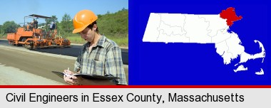 a civil engineer inspecting a road building project; Essex County highlighted in red on a map