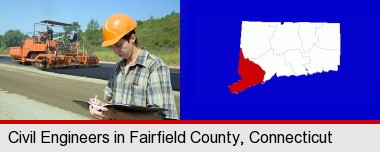 a civil engineer inspecting a road building project; Fairfield County highlighted in red on a map