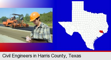 a civil engineer inspecting a road building project; Harris County highlighted in red on a map
